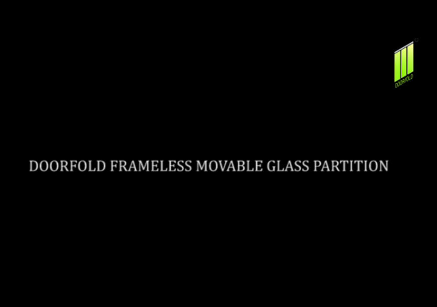 Doorfold frameless movable glass partition