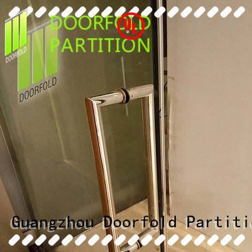 Doorfold folding glass partition wall for office