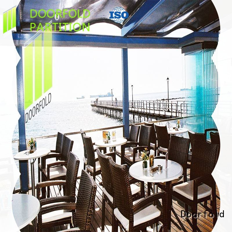 Doorfold factory price accordion partition glass for restaurant