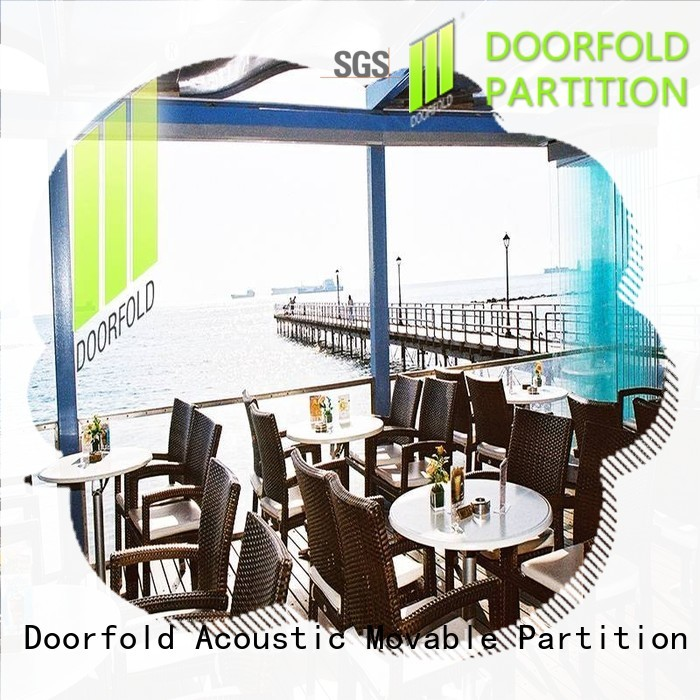 Doorfold folding glass partition wall glass for restaurant